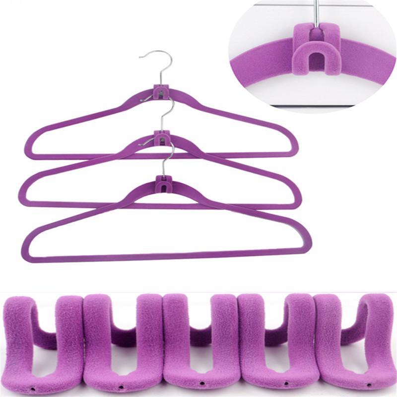 10Pcs/lot Mini Flocking Hooks for Clothes Hanger Closet Organizer Travel Clothes Hanging Organizer Coat Hooks Color Random free shipping