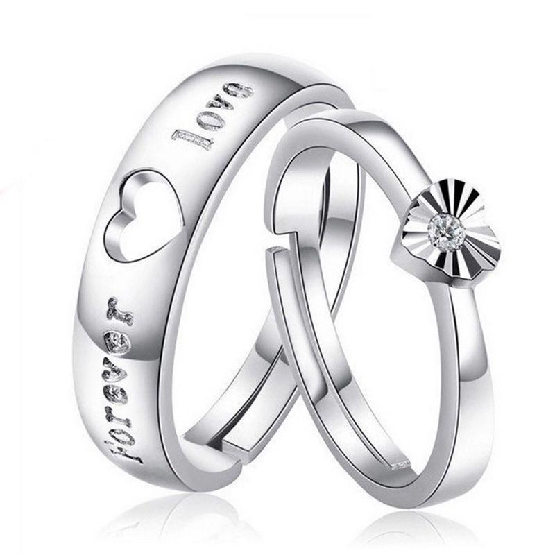 Frete grátis casal nobre anéis amor para sempre carta coração oco anéis new lover presente anel de prata esterlina