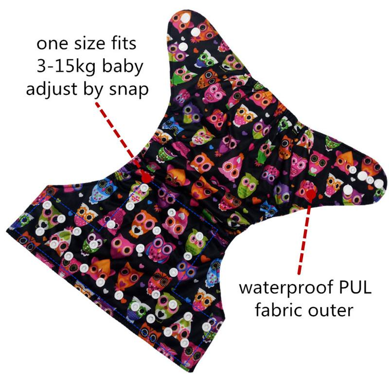 [Cute Green]One Size Fits 3-15kg Baby Cloth Diaper Cover Waterproof PUL Reusable Nappies Cloth Pant Nappy Infant Pocket Diapers