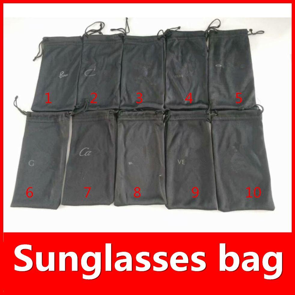 Sacchi neri per occhiali da sole LOGO Borse Marca VENDITA CALDA di marca degli occhiali da sole di sicurezza 10 colori opzioni di lusso vestito per il formato normale MOQ = 20pcs nave veloce