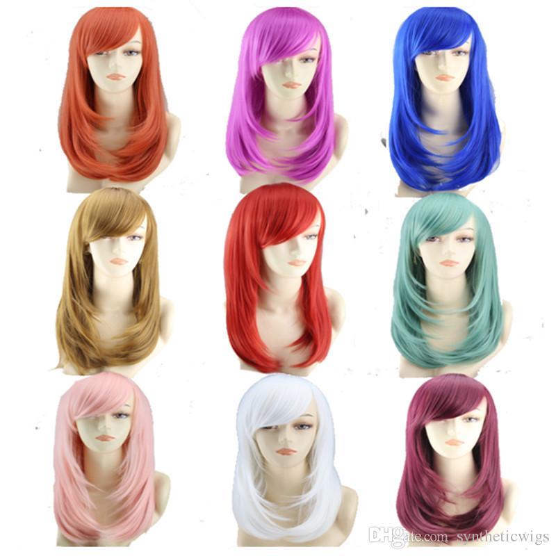 WoodFestival cosplay perruques pour les femmes longues perruques droites pas cher fibre synthétique perruques de cheveux résistant à la chaleur rouge bleu blanc bordeaux perruque parti
