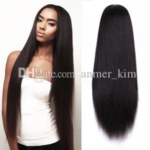 Nature on sale tangle free popular aaaaaa 100% unprocessed virgin remy human hair natural color silky straight full lace cap wig for girl