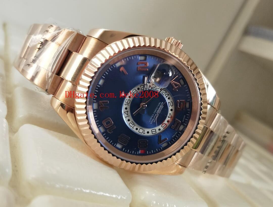 Luxus hochwertige Armbanduhren GMT Sky-Dweller m326933-0001 326933 42mm 18k Rose Gold Blau Asia 2813 Bewegung Automatik Herrenuhr