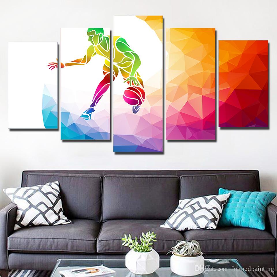 HD Printed 5 Piece Canvas Art Color Basketball Player Canvas Prints Wall Pictures for Living Room Modern Free Shipping