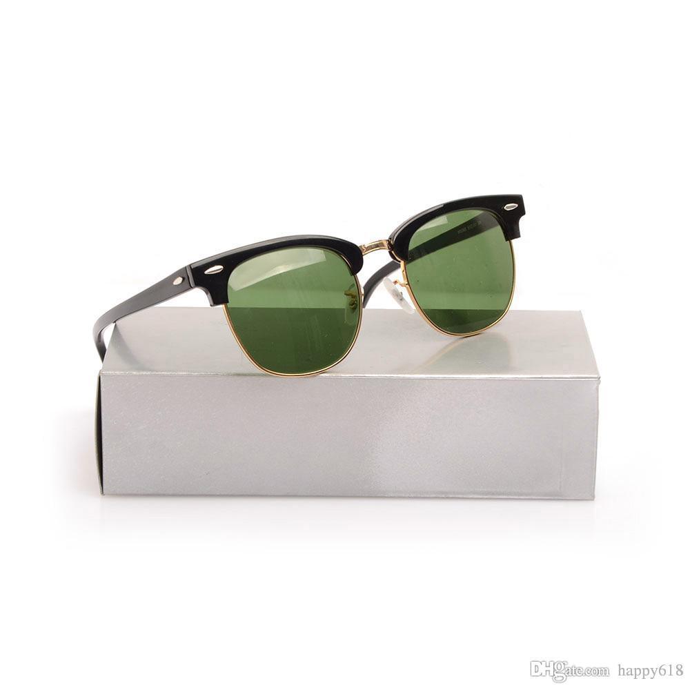 High Quanlity Sun glasses Classic Metal hinge Sunglasses Plank black Sunglasses Glass Lens sun glasses mens sunglasses Club women's glasses