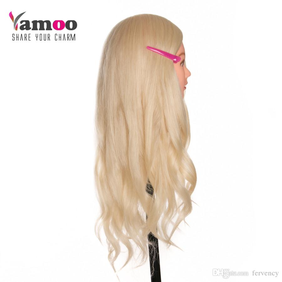 60cm 40 % Real Human Hair Training Head blonde For Salon Hairdressing Mannequin Dolls professional styling head can be curled
