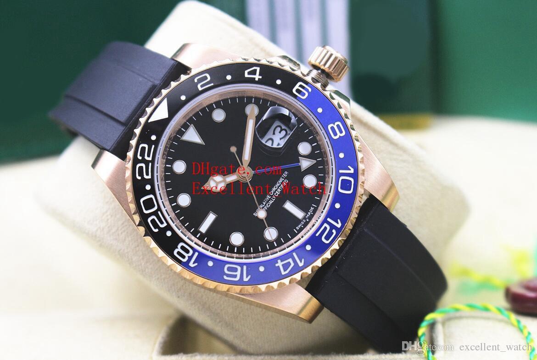 5 estilo venda quente moda relógios 40 mm 116710 116713 116719 BLRO 18k Rose Gold Bezel Cerâmica Asia 2813 Automatic Rubber Rubber Strap