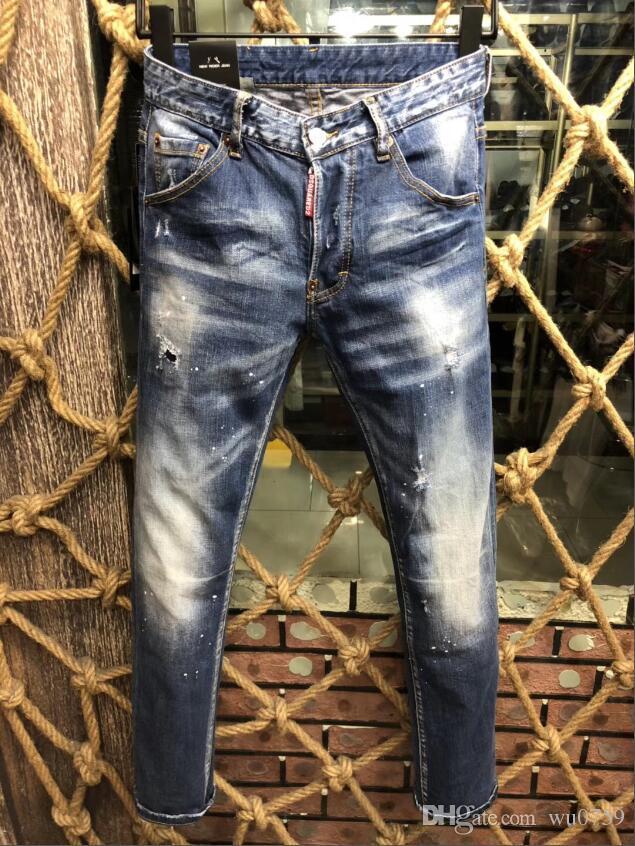 d477828e1cd8e Wholesale-Swag Mens Designer Brand Black Jeans Skinny Ripped Destroyed  Stretch Slim Fit Hop Hop ...