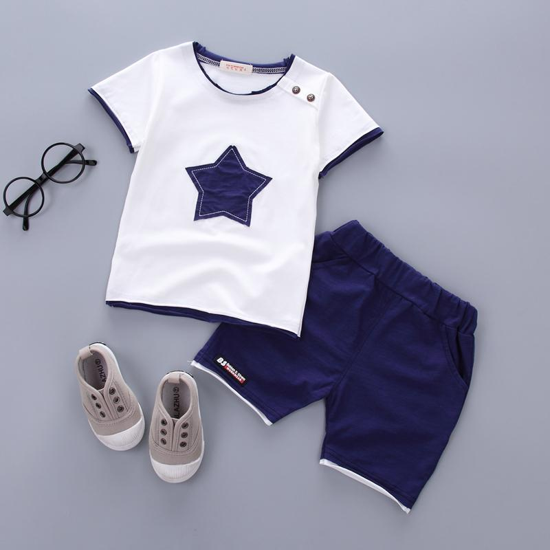 Boys clothing set 2018 Summer new fashion 100% cotton with five-star print for 1 2 3 Years old infant clothes 2pcs