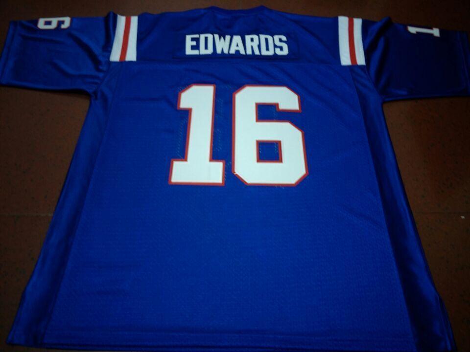 Hombres # 16 LOUISIANA TECH BULLDOGS Troy Edwards real Bordado completo Jersey universitario Talla S-4XL o personalizado con cualquier nombre o número jersey