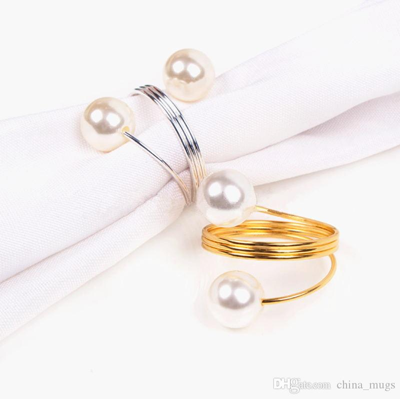 New Dinner Banquet Faux Pearl Napkin Ring Serviette Buckle Holder Wedding Birthday Date Anniversray Party Table Decoration