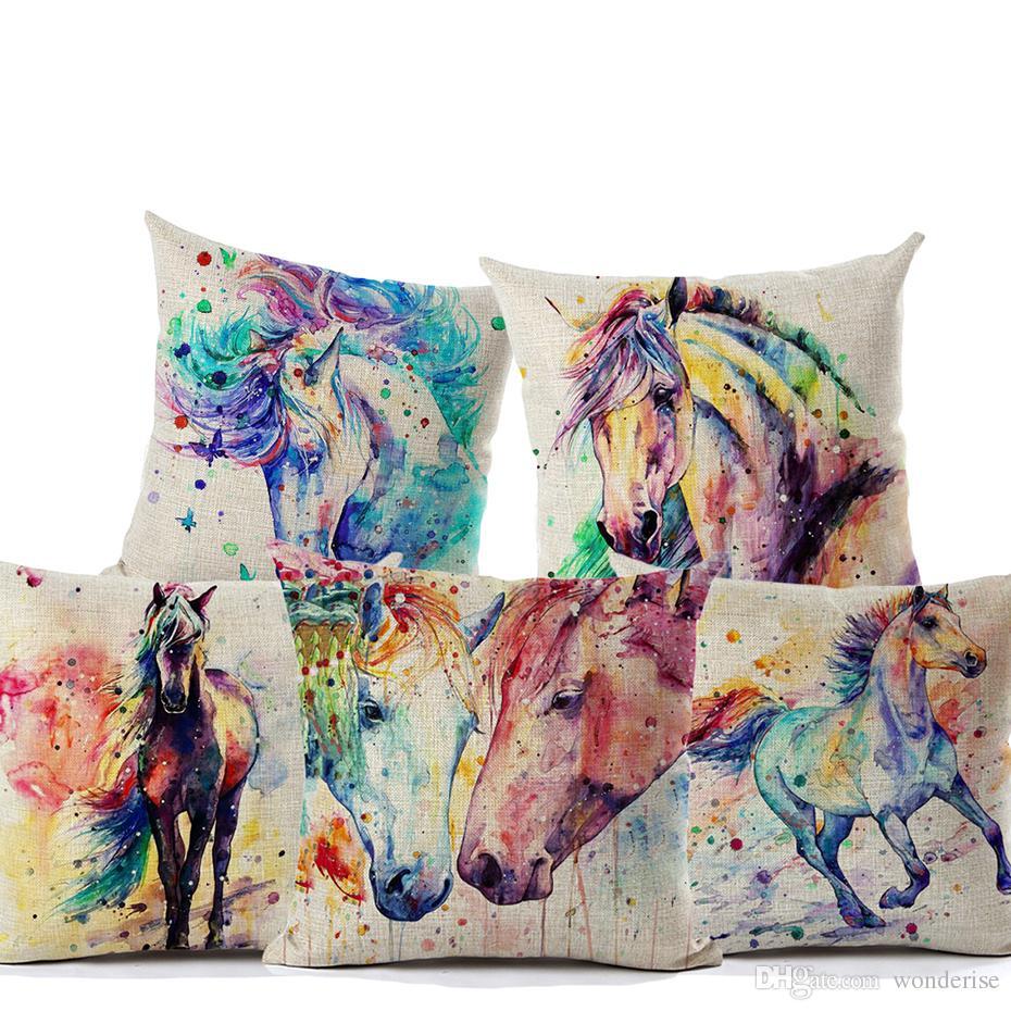 Cuscini Colorati.Acquista 7 Stili Pittura Ad Acquerello Cuscini Cavalli Cuscini