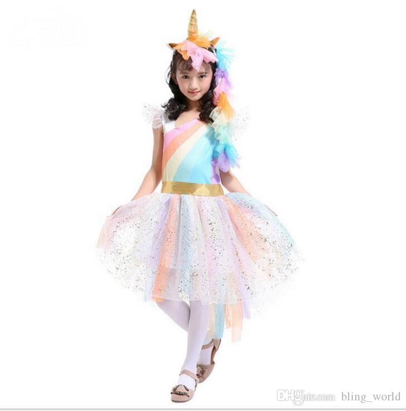 Einhorn Mädchen Kleider Regenbogen Prinzessin Kleid Einhorn Stirnband + Engelsflügel + Spitze Tutu Mädchen Kleid 3 Stücke Anzüge Cosplay Kleidung Sets YL750