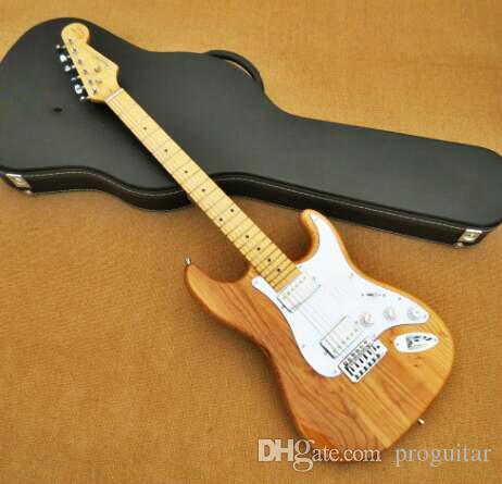 مصنع الجملة GYST-1043 الأصلي لون الخشب الصلبة الرماد الجسم 6 سلسلة القيقب وحة الفريتس st الغيتار الكهربائي ، يمكن تخصيصها ، شحن مجاني