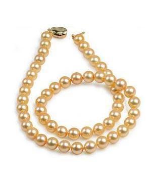 Оптовая элегантный 19 дюймов 9-10 мм Южное море золото розовый жемчужное ожерелье 14 K золото застежка