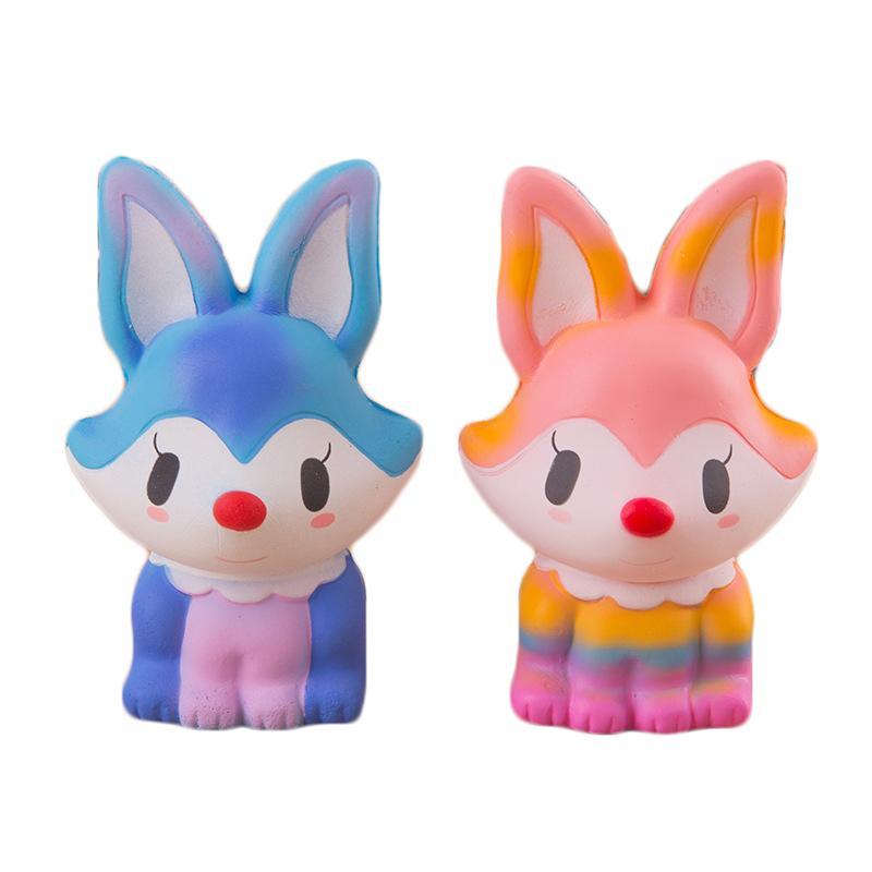 Acheter Deux Obtenez trois Squishy Jumbo 14cm Fox Kawaii Squishy lente hausse Stress Relief Squeeze Toy Phone Strap Squishi Kid Juguetes