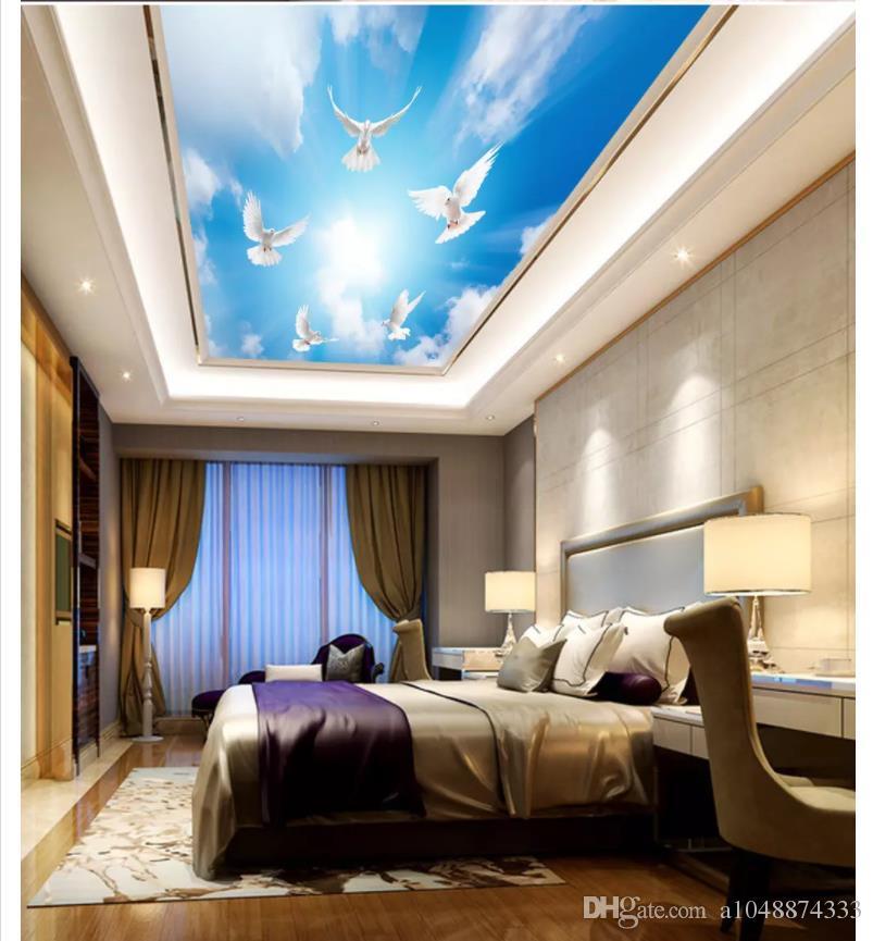 Custom photo wallpaper 3d ceiling murals wallpaper Dream sky blue sky white dove pigeon zenith mural ceiling background wallpaper for walls