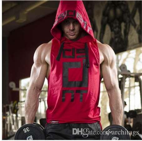 YEMEKE Baumwolle Tank Tops Hoodie Fitness Herren Bodybuilding Training Tee Mode Muscle Männlich Activewear rot schwarz weiß