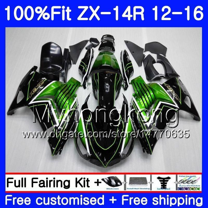 Injectie voor Kawasaki ZX 14R ZZR 1400 ZX14R 12 13 14 15 16 225HM.0 ZZR1400 ZX-14R 2012 2013 2014 2015 2016 FACKING FACTORY GREEN BLK