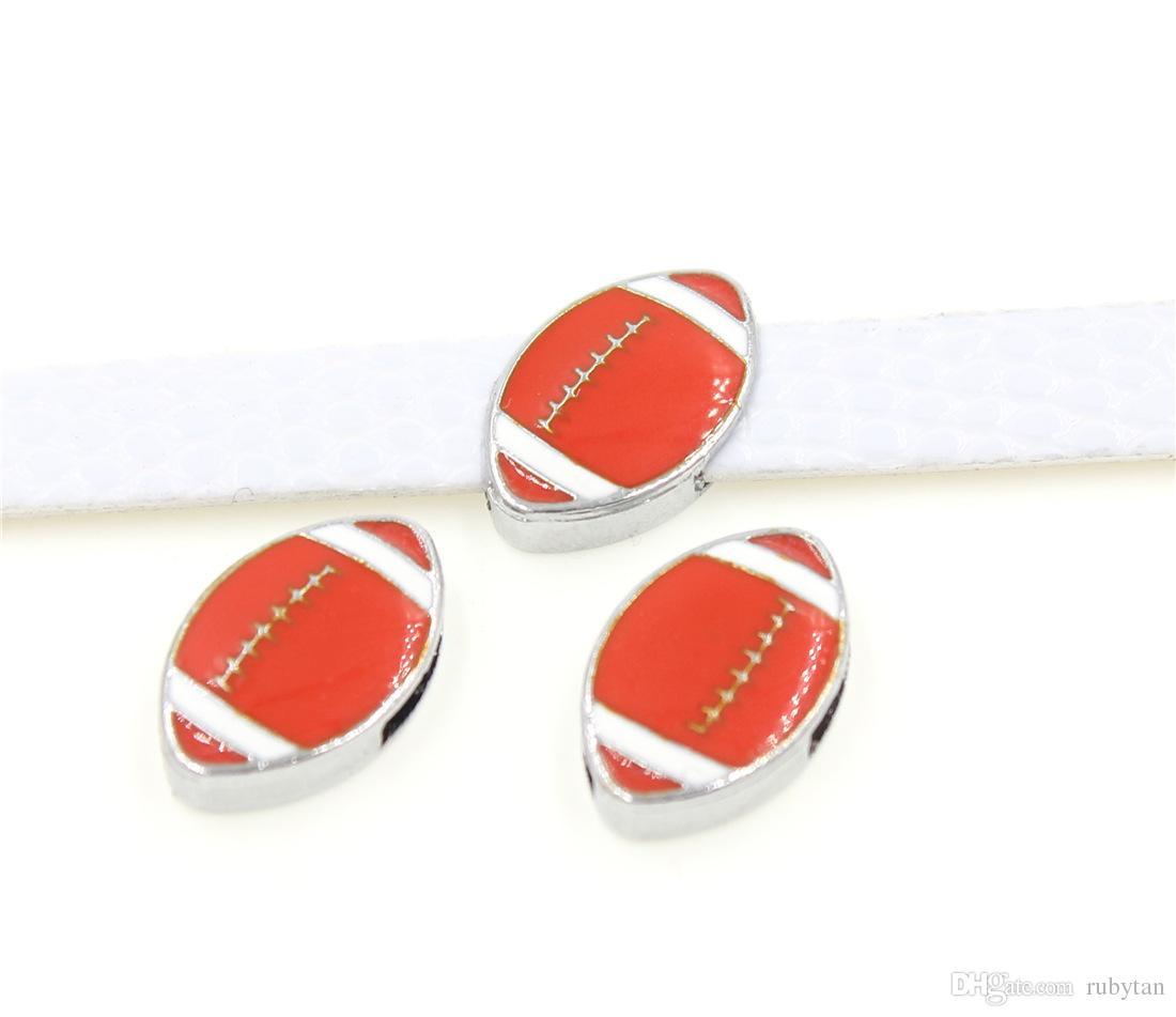 Moda 8mm esmalte de futebol americano encantos de slides de metal diy dangle charme fit para pet collar diy colar pulseira jóias