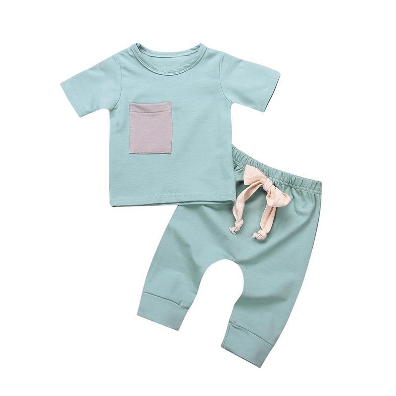Emmababy Casual Newborn Baby Boy Girl ropa sólida de manga corta Tops T-short + Pants Outfits boys girls Conjunto de ropa
