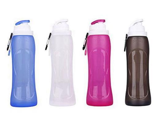500ml falten Taschenwasserflasche Silikon-Nahrungsmittelgrad-bewegliche Wasserflasche 500ml zusammen