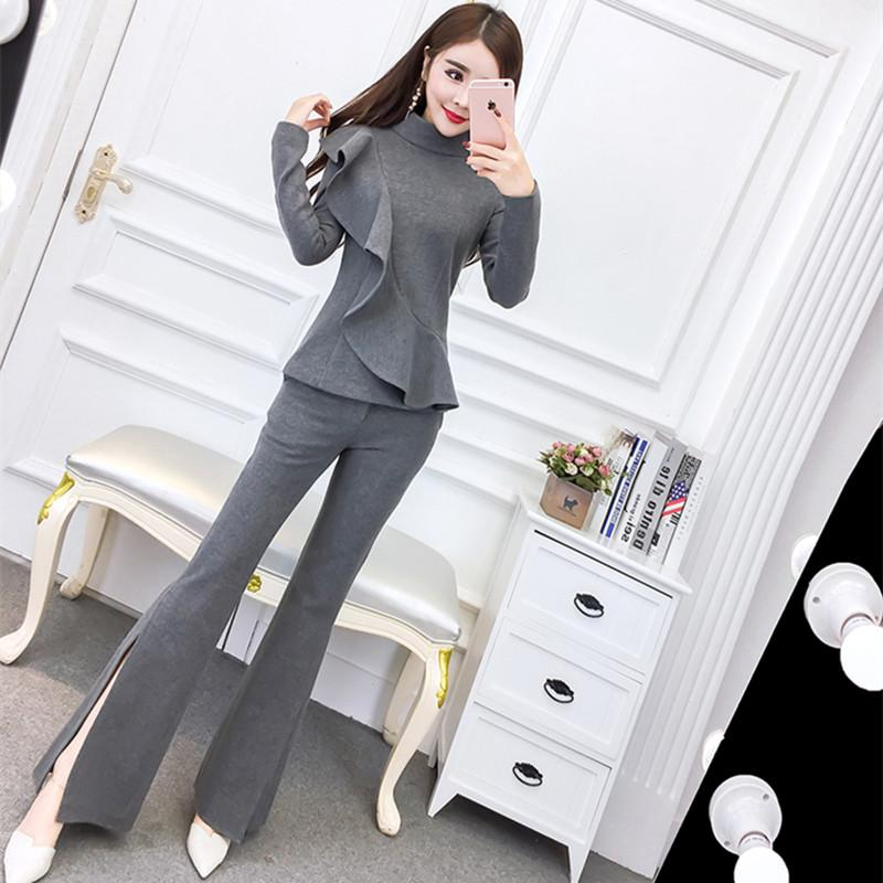 MingJieBiHuo Fashion womens sets new arrival autumn korean OL Office vintage solid color Temperament flare long pants sets
