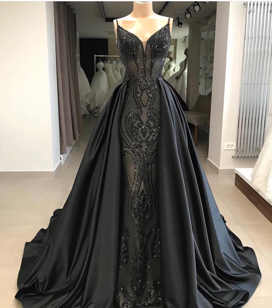 Großhandel Afrikanische Schwarze Abendkleider Marokkanischer Kaftan  Abnehmbare Rock Kleider Dubai Türkisch Arabisch Aibye Abendkleid  Abendkleider Von