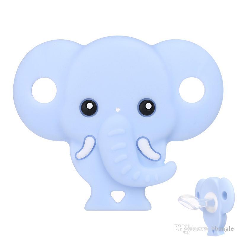 Chupeta do bebê Bonito Elefante Forma Manequim Food Grade Silicone Seguro Soothers Infantil Mordida Mamilo Chupetas Rosa Azul