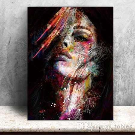 Leinwand Malerei Wandkunst Bilder druckt bunte Frau auf Leinwand kein Rahmen Wohnkultur Wand Poster Dekoration für Wohnzimmer
