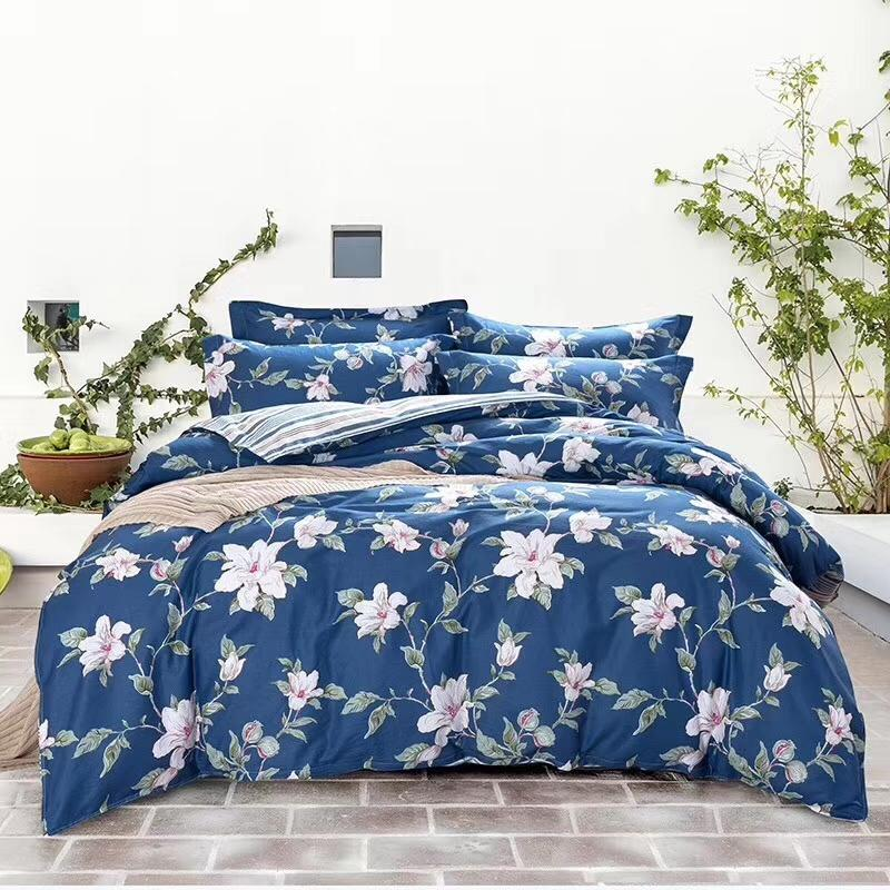 cotton fabric bedding set four pieces per set bed sheet bed cover and two pillow case flower designs mutual color Ming yang 201899