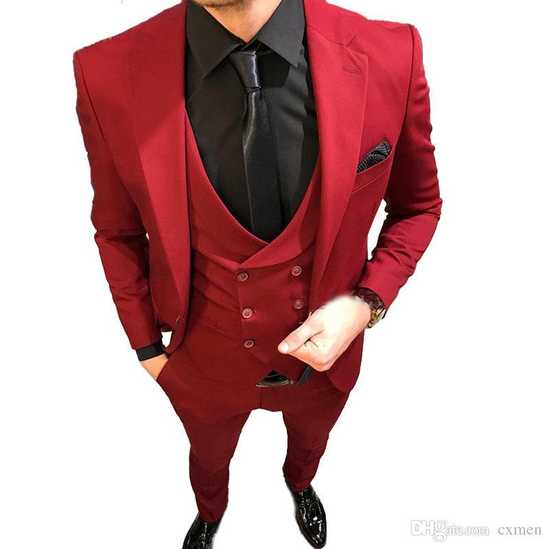 Burgundy Men Suits for Wedding Slim Fit Groom Tuxedos Custom Made Groomsmen Suits Peaked Lapel Prom Wear 3 Pieces Jacket Pants Vest