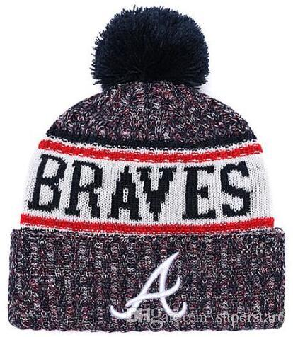 Top Selling Braves beanie beanies Sideline Cold Weather Reverse Sport Cuffed Knit Hat with Pom Winer Skull Caps