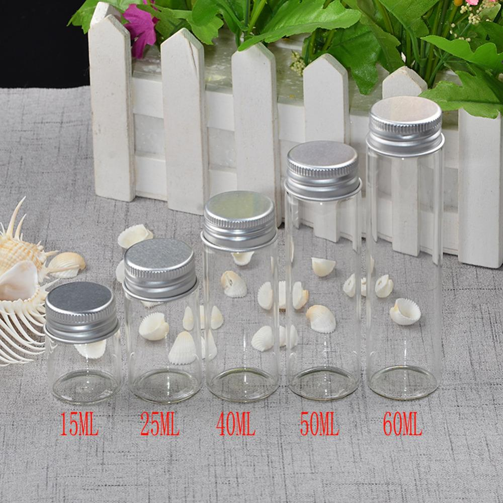 15ml 25ml 40ml 50ml 60ml Glass Bottles Decoration Crafts Bottles Aluminium Lid Empty Wishing Bottles Jar1