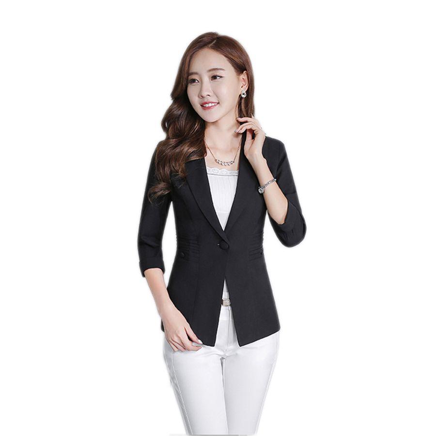 una gran variedad de modelos obtener online nuevo baratas 2018 Black Elegant Blazer Jacket Casual Slim Feminino Korean Ladies Blazers  Abrigo Mujer 2018 Womens Business Suit Plus Size KC5C086 From Balljoy, ...
