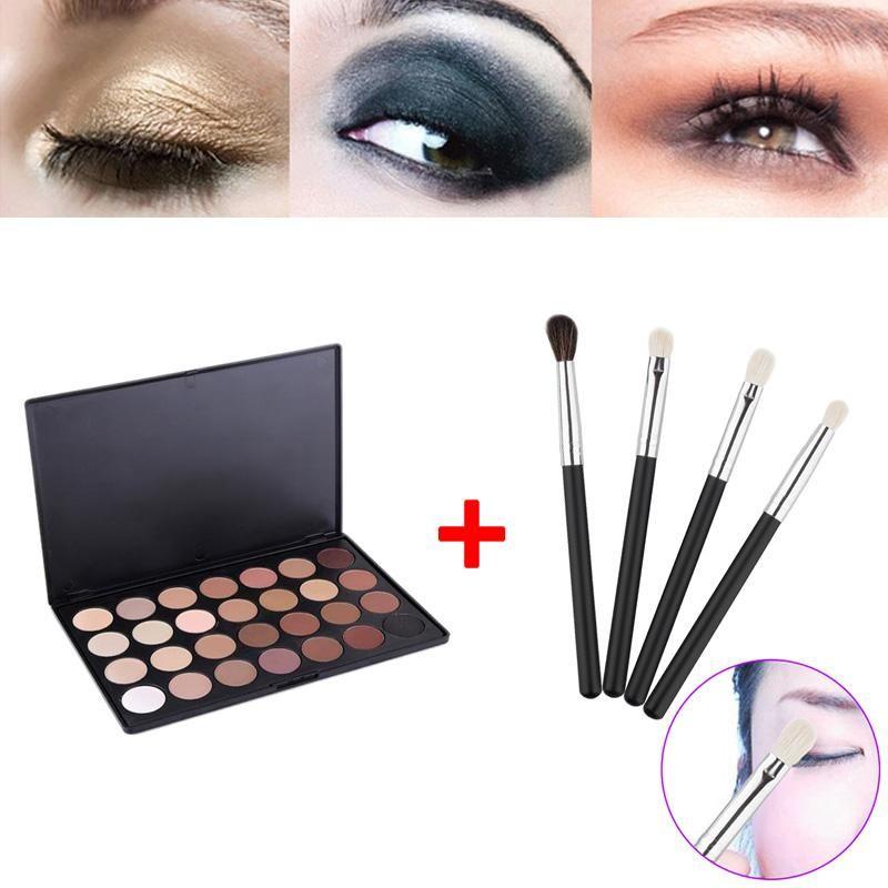 28 colores Neutral Warm Eyeshadow Palette Shadow Make Up Kit + 4pcs Eye Foundation Blending Brush