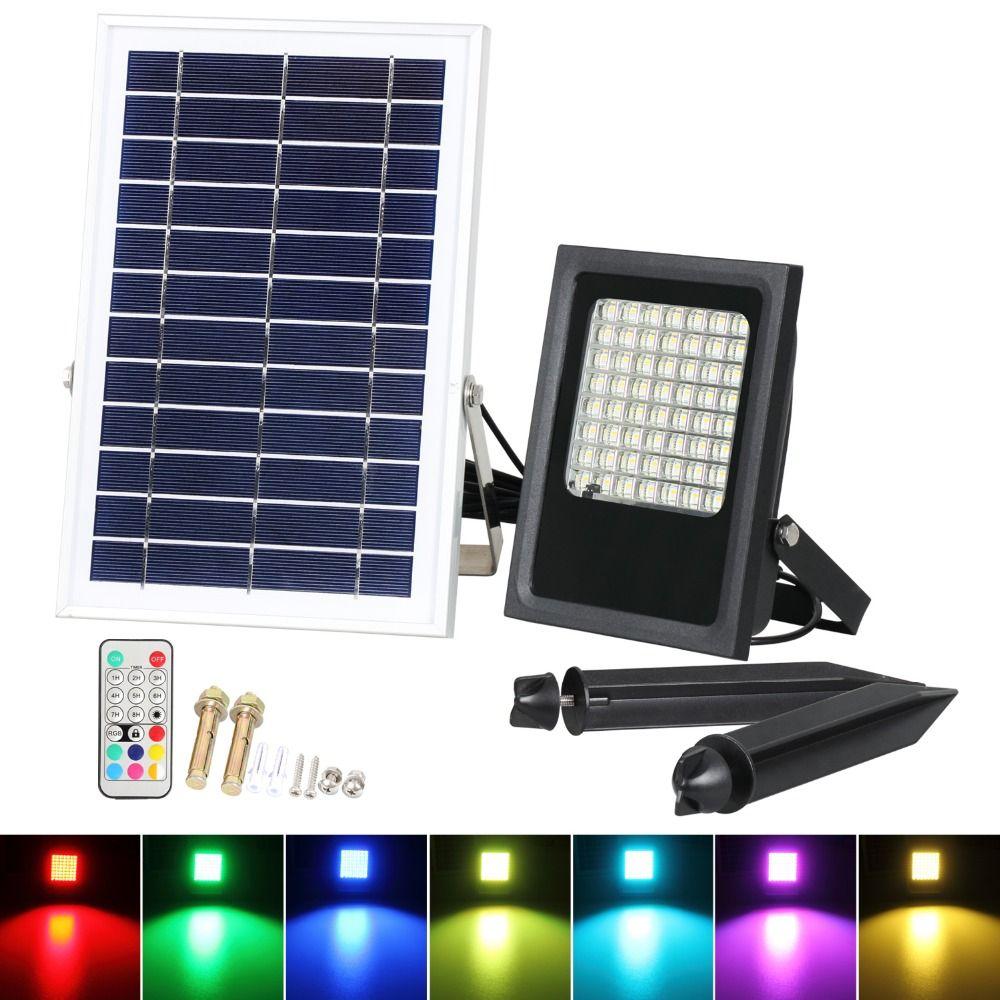 Led solaire projecteurs 7 couleurs alimenté jardin LED RGB LED sécurité lumière paysage extérieur imperméable lampe de mur