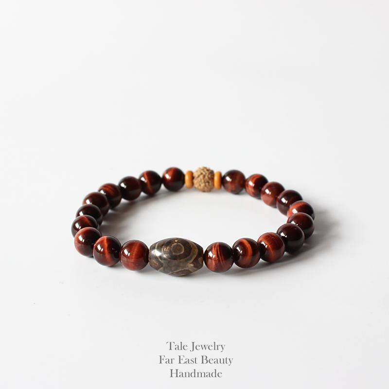 Wholesale Natural Red Tiger Eye Stone Beads Tibetan Stone Rudraksha Beads Stretch Bracelet For Men Women Yoga Chakra Jewelry Y1891709