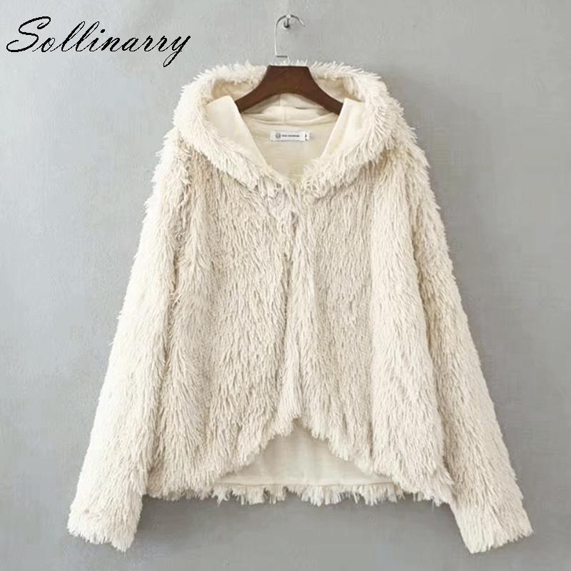 Sollinarry Solid Plush Teddy Coat Donna Outwear Autunno Inverno Cappotti Casual Felpe Cappotto caldo Alta moda 2018