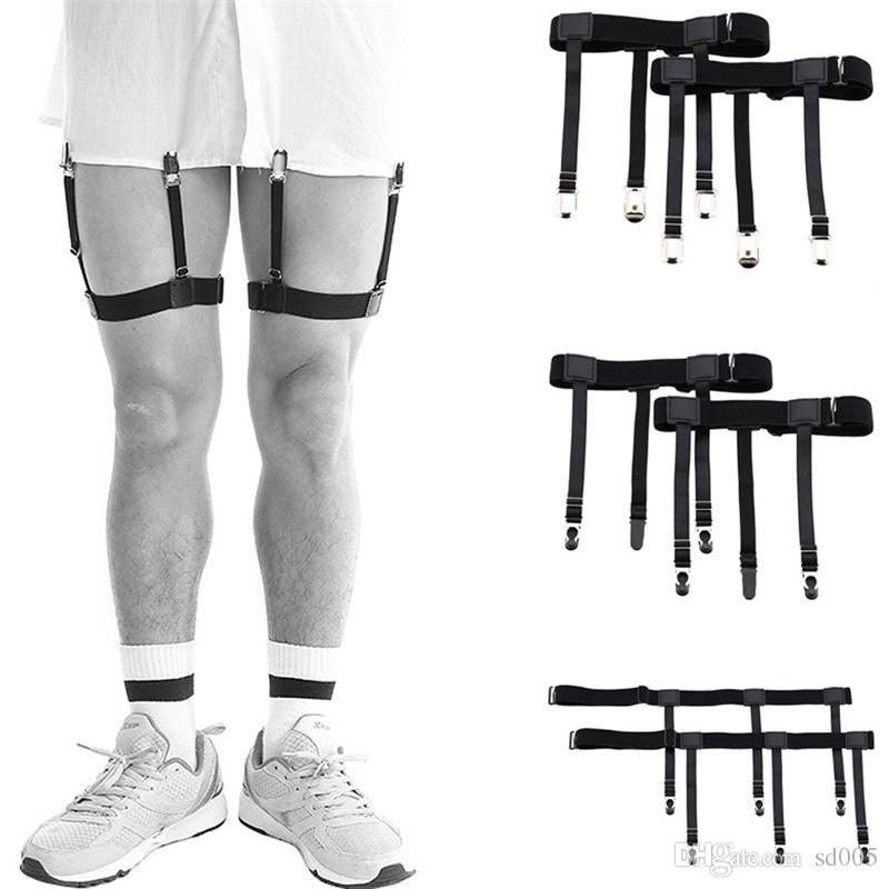 Men Women Shirt Hosiery Clip Formal Wear Wrinkle Proof Non Slip Elastic Leg Suspenders Holder Straps Metal Locking Clamps 9 3kf bb