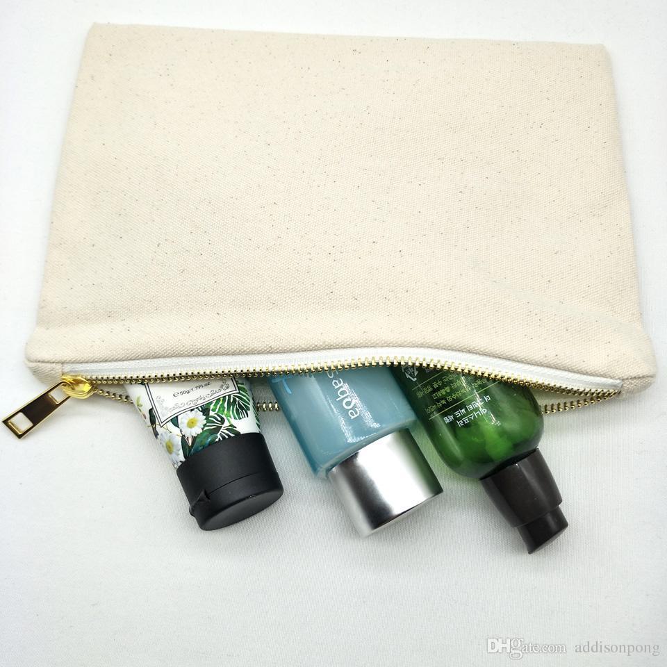 lotto delle donne in cotone naturale avorio 20pcs / pochette con zip tinta tela sacchetto della matita trousse fodera argento 7 stampa personalizzato * 10in