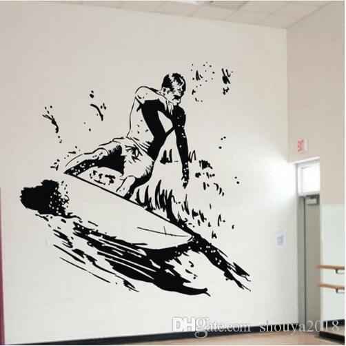 Free shipping DIY Surfer Wall Stickers Cool Sports Wall Decals for Boys Room Kids Bedroom Vinylk Removable Go Surfing Art Home Decor Murals