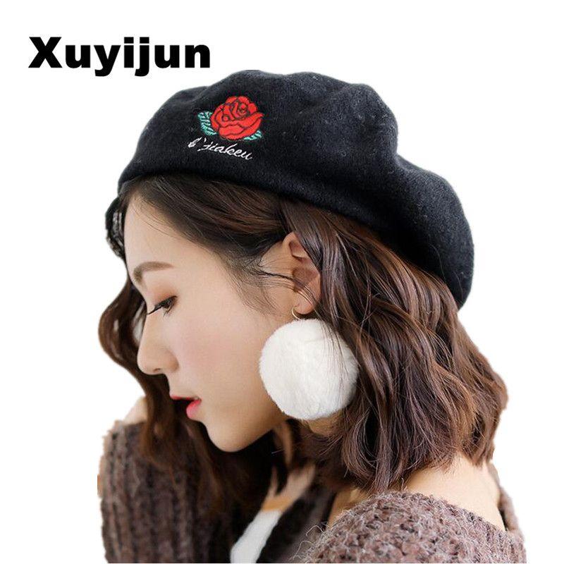 XUYIJUN Super Hot High Quality Fashion Artist Wool Roses Women's Beret Hat Female Cap Casual Dome Nude Hat Feminino Boina