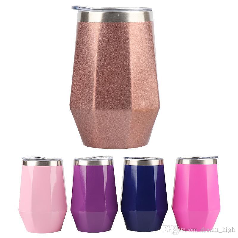 Huevos 12 oz Forma de diamante con tapas Botellas de agua 304 Vaso de vino de acero inoxidable Termo de vacío Tazas de café Taza de beber
