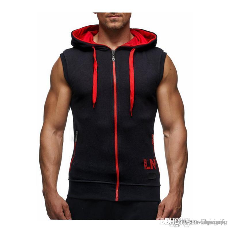 Erkek Vücut Kapüşonlular Spor Giyim Hoody Pamuk Hoodie Erkekler Tişörtü Erkek Kolsuz Tank Casual Vest Tops