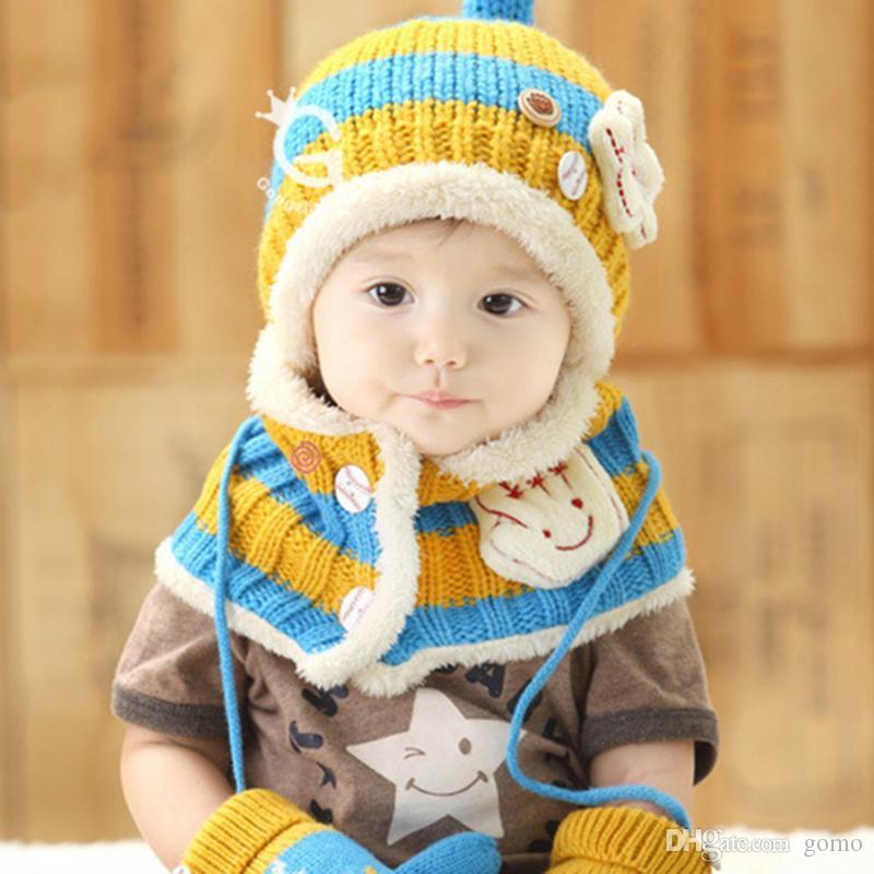 2 pcs / set Bébé Chapeau et Écharpe Collier Enfants Hiver Cap Épais Étoile Motif Chaud Chapeau Filles Garçons Infantile Porter Accessoires