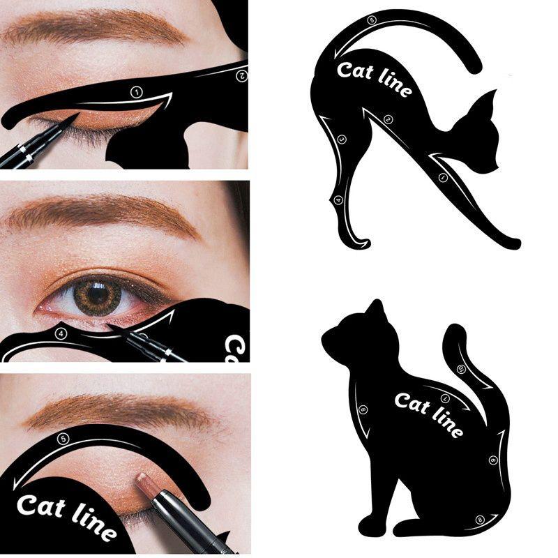 2 pcs Eye Liner Template Pochoirs Cat Eye Top Bottom Eyeliner Card pour fard à paupières Auxiliaire Outils Eyeliner Stencils