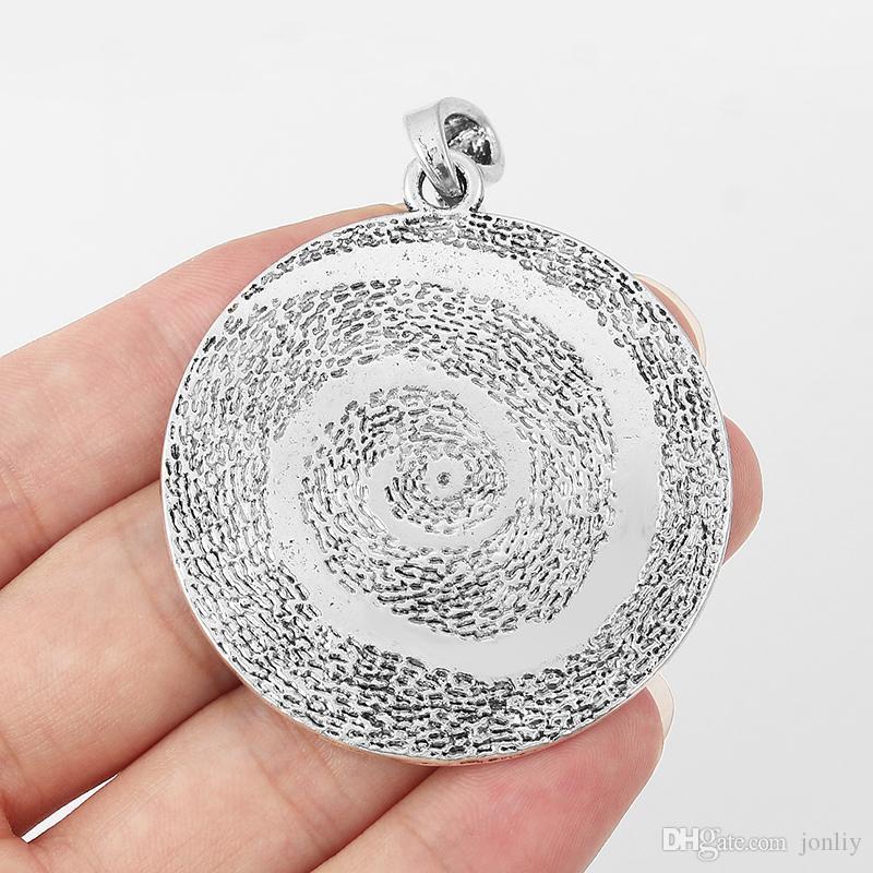 5 sztuk Duży młotek Antique Silver Round Charms Spalliwi Wisiorki Wisiorki DIY Biżuteria Ustalenia