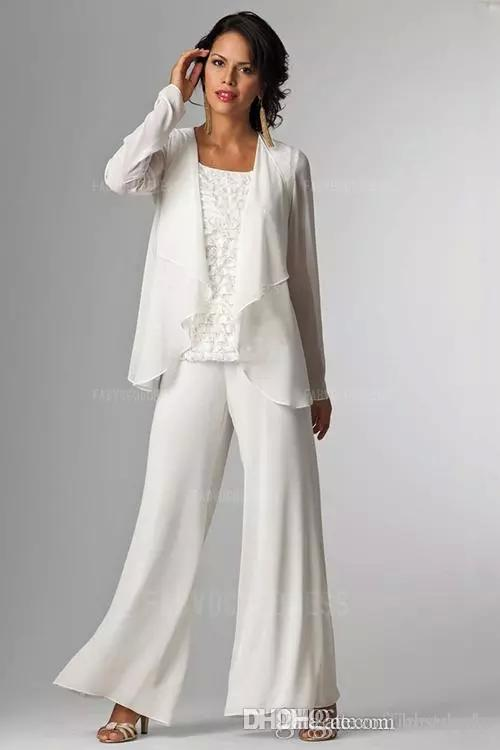 Elegant White Chiffon Lady Pants Suits Mother Of The Bride Groom With  Jacket Plus Size Women Party Dresses Trouser Suit Custom Made Mother Of The  ...