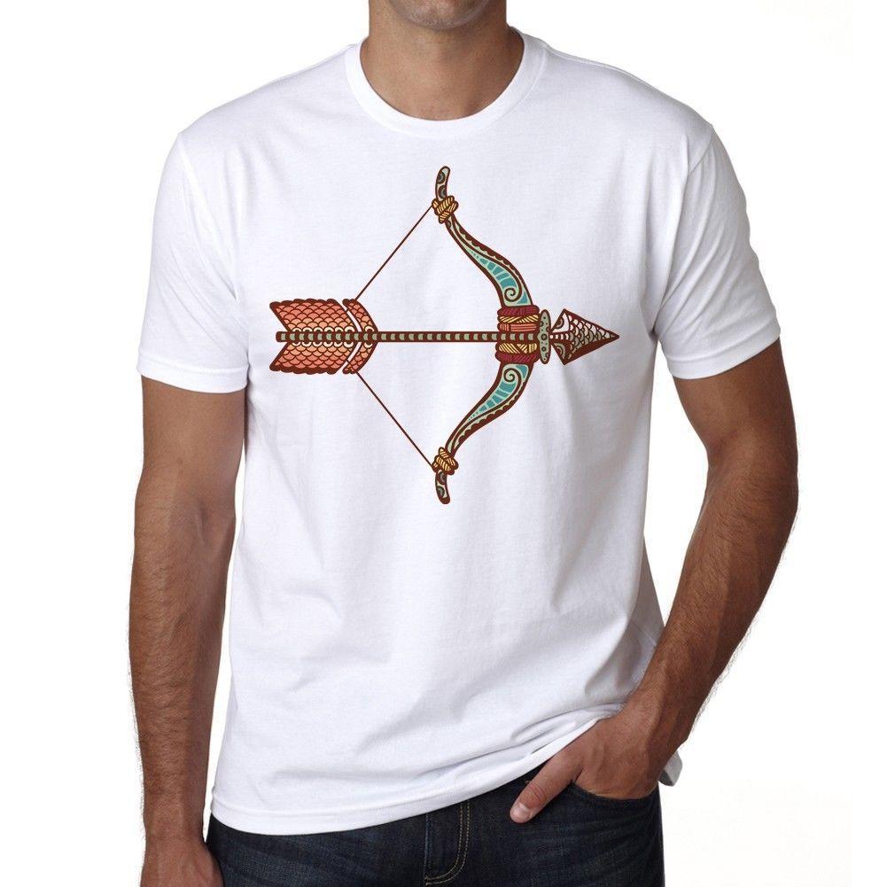 Moda Estilo Sagitário Signo Do Zodíaco, T Branco Dos Homens, Algodão Engraçado O Pescoço T Camisa